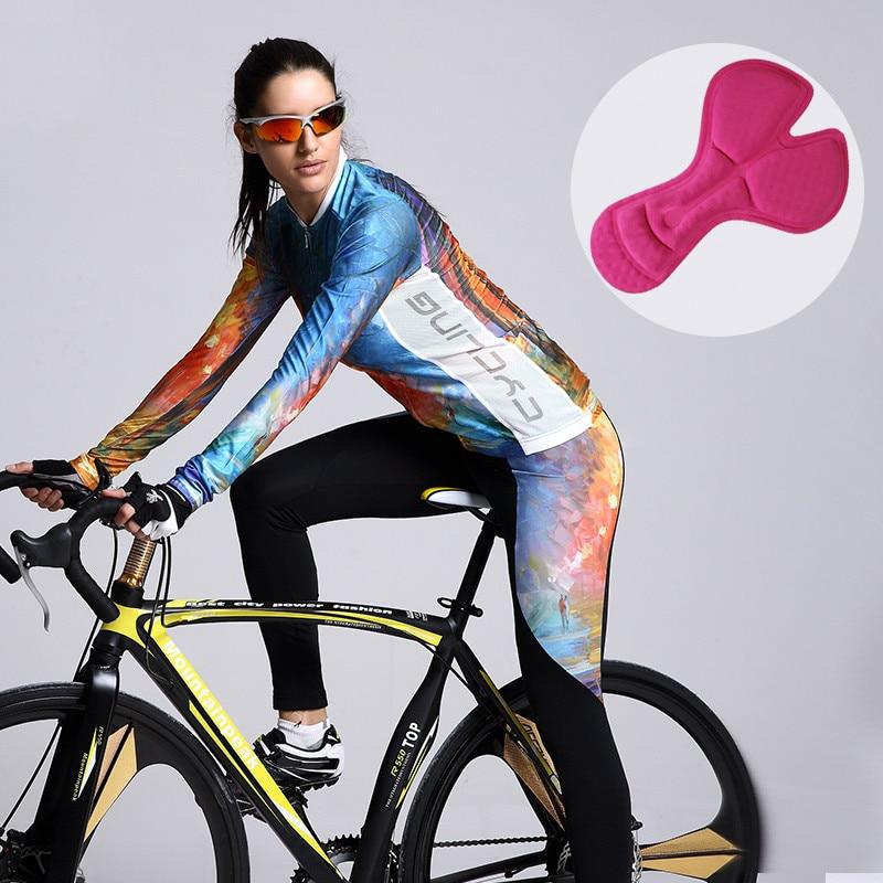 Mountainpeak spring Long Sleeve Bike Cycling Cloth Quick Drying 3D Padded sponge Man Woman Riding Suit jacket Cycling Jersey Set