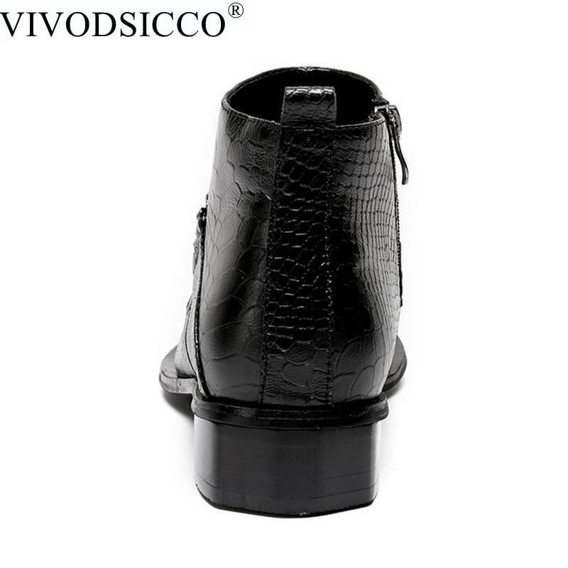 US $86.13 40% di SCONTO|VIVODSICCO NUOVO Caviglia del Cuoio Genuino Nero di Pelle di Serpente Scarpe Da Uomo di Lusso Cowboy Chelsea Mens Occidentale