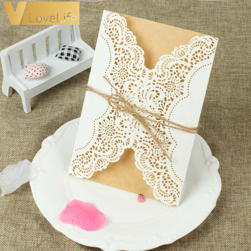 100Pcs Wedding Invitations Cards Laser Cut Luxury Floral Thank You Greeting Card Blank Paper Print Event Party Supplies