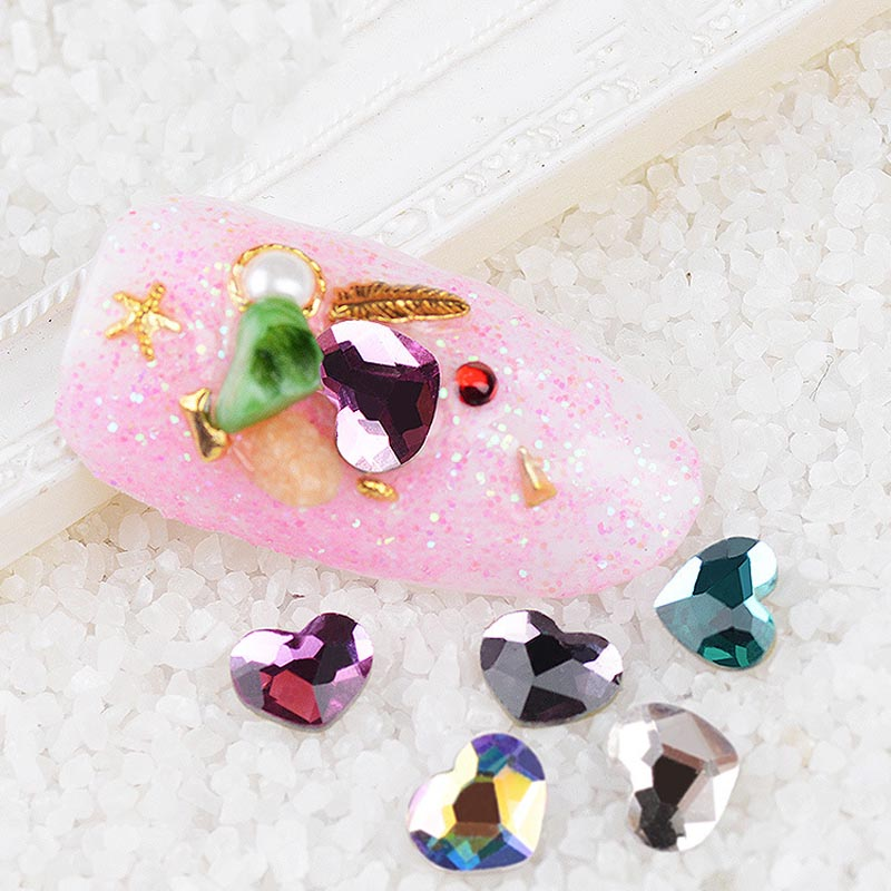 Random Color 10 Pcs Love Heart Crystal Flatbacks Nail Art Rhinestones Supplies Nail Arrt Decoration Tool