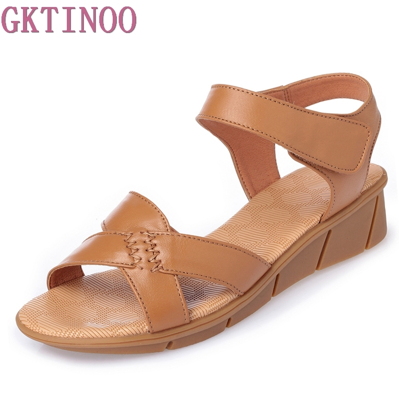 GKTINOO Plus Size (35-43) Flat Summer Sandals For Women 2018 Mother Shoes Genuine Leather Nurse Shoes Flat Maternity Shoes Women gktinoo genuine leather sandals women flat heel sandals fashion summer shoes woman sandals summer plus size 35 43 free shipping
