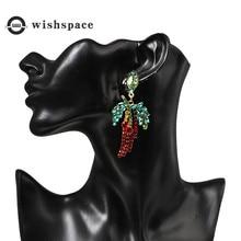 New fashion red pepper green leaves set auger popular earrings