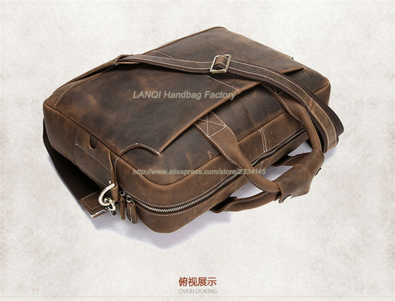 Vintage Crazy Horse Genuine Leather Briefcases Men Messenger Bag Men Leather Shoulder Bag Briefcase Business Laptop Bags Handbag