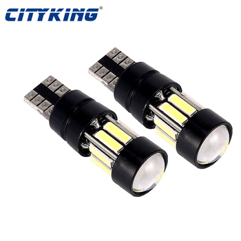 50pcs T10 LED canbus W5W 194 168 led Interior Xenon White LED CANBUS NO OBC ERROR t10 10SMD 7020 with Lens Projector Aluminum