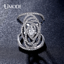 UMODE 2016 New Fashion Women Ring Jewelry Cubic Zirconia  Trendy Flower Design Pave Finger Ring Bague Resizable AUR0298