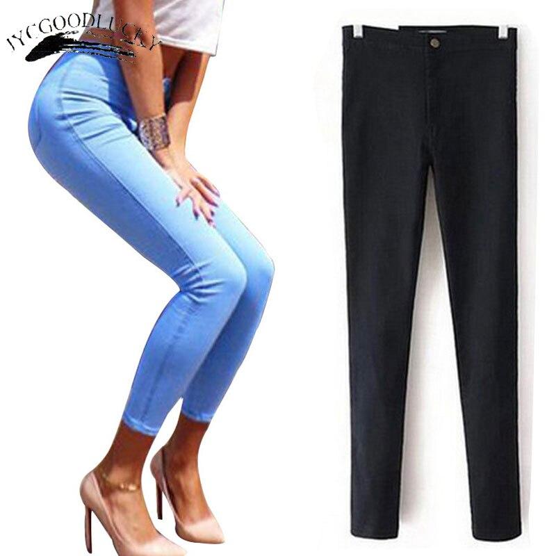 Джинсы для женщин для Для женщин стрейч черные джинсы обувь для женщин 2017 г. Брюки для девочек узкие Для женщин Джинсы для женщин с Высокая Талия синего джинсового цвета дамы Push Up Белый Джинсы для женщин
