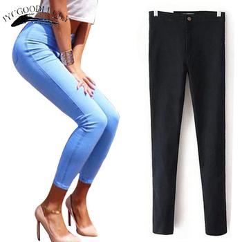 Dżinsy damskie Stretch czarne dżinsy kobieta 2019 spodnie Skinny kobiety dżinsy z wysokim stanem Denim niebieskie damskie Push Up białe dżinsy tanie i dobre opinie JYCGOODLUCKY COTTON Pełnej długości jeans with high waist WOMEN Na co dzień Zmiękczania Wysoka Zipper fly Fałszywe zamki