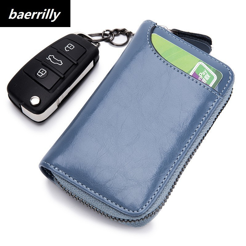 Card Holder Genuine Leather Car Key Case Men Wallet Holder Housekeeper Organizer Keys Chain Zipper Bag Women leather key wallet цены онлайн