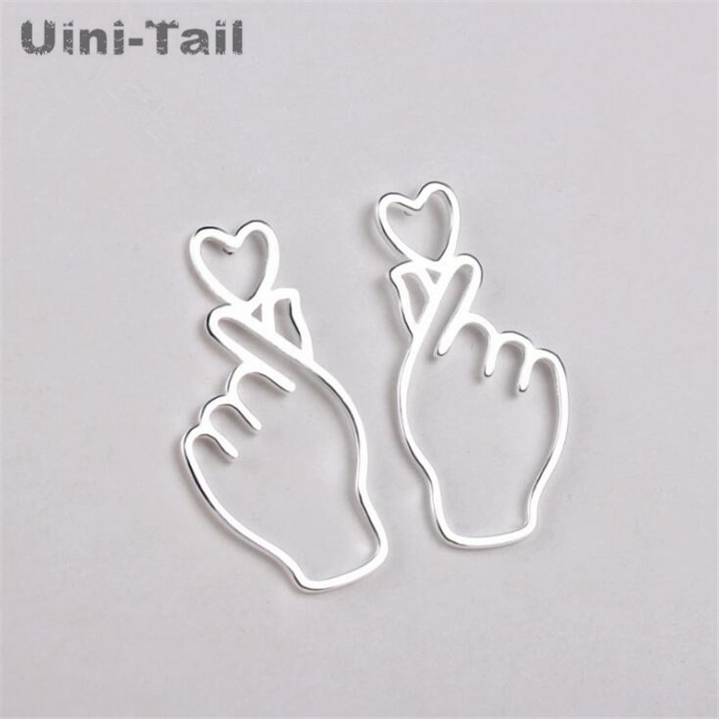 Uini-Tail hot new 925 sterling silver creative personality Korean cute net red  earrings fashion wild high quality jewelry