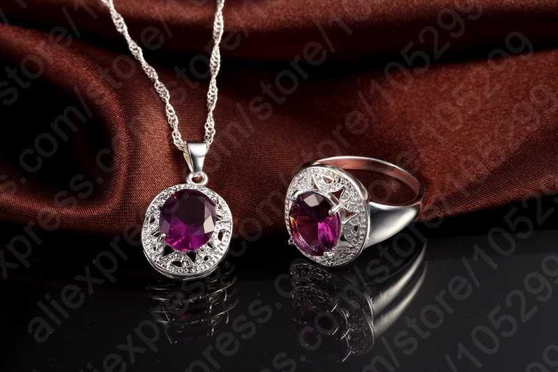 Kristall Anhänger Halskette Ohrringe Ring Cubic Zirkon Trendy Party 925 Sterling Silber Farbe Schmuck Sets Frauen Neue Design