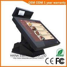 Sistema POS de caja registradora con pantalla táctil para supermercado de 15 pulgadas con pantalla de cliente