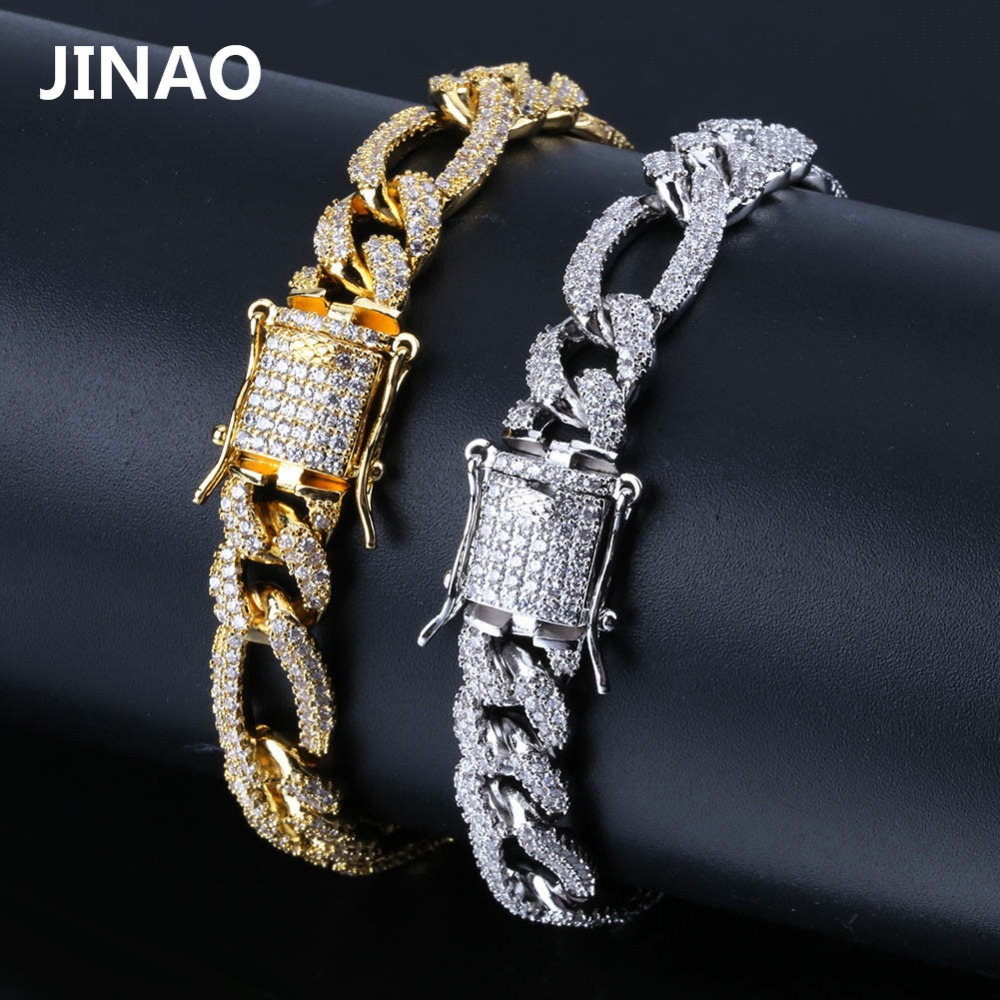 Image 5 - 10mm Personality  Iced Out Miami Curb Men Bracelets Gold Silver Color Hip Hop Jewelry Cuban Chians Crystal CZ Rapper Punk Gifts-in Chain & Link Bracelets from Jewelry & Accessories