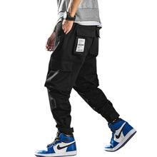 2019 lato styl wielu kieszenie Cargo spodnie męskie Jogger spodnie Hip Hop na co dzień ulica kostki długość spodnie Harem spodnie ABZ357 tanie tanio Mężczyźni Pełnej długości Cargo pants Luźne Poliester COTTON Kostki długości spodnie Midweight Mieszkanie Suknem