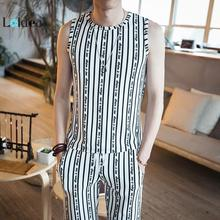 LOLDEAL Summer New Sleeveless Vest Cotton Fashion Striped Shorts Mens Large Size Suit