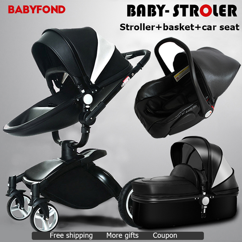 Asia Free!  baby stroller 3 in 1  leather baby carriage  two-way shock absorbers baby car cart trolley Europe baby pram gift free 3 in 1 baby strollers light baby car sleeping basket newborn baby carriage 0 36 months europe baby pram carriage five color