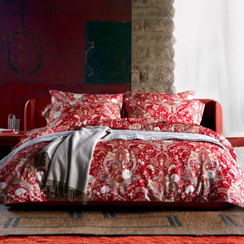 MILAIYA Pima cotton/ELS American Egyptian Cotton 4pcs duvet cover bedding set 80s luxury high quality red color bed sheet sets