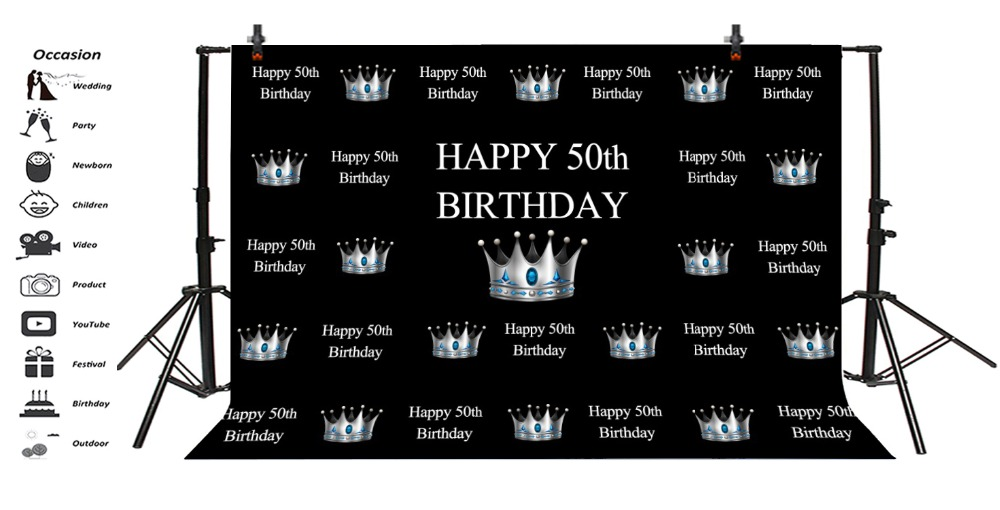 Laeacco Happy 50th Birthday Sliver Crown Scenic Party Photography Backgrounds Customized Photographic Backdrops For Photo Studio in Background from Consumer Electronics
