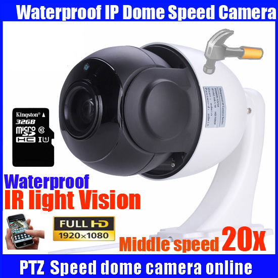 Freeship CCTV 1080P 2MP 20X optical zoom outdoor middle speed onvif PTZ dome camera network IP dome ptz camera with 32GB SD card onvif hd 2 0mp 20x optical zoom 100m ir distance 1080p ptz cctv wired camera speed dome camera with auto wiper
