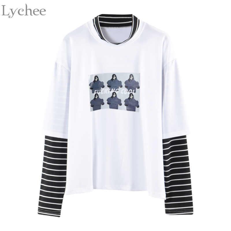 Lychee весна осень женская футболка с буквенным принтом в полоску Лоскутная Повседневная Свободная футболка с длинным рукавом
