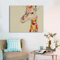 Hot Sale Cartoon Giraffe Oil Painting Hand Painted On Canvas Hanging Art Pictures For Wall Decor No Frame