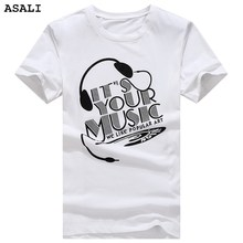 Asali 2017 Summer Fashion men's O-neck headset print Cotton Short Sleeve White Black T Shirt Men Slim Fit Top Tees Shirt B11