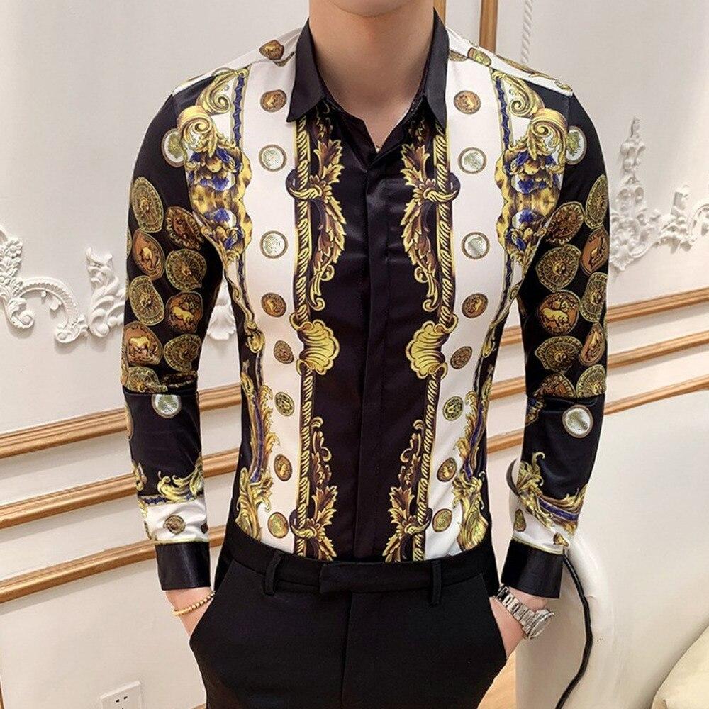 Luxury Gold Print Men Shirt Casual Slim Fit Long Sleeve Male Dress Shirts Club Work Vintage Tuxedo Shirt Camisa Social Masculina