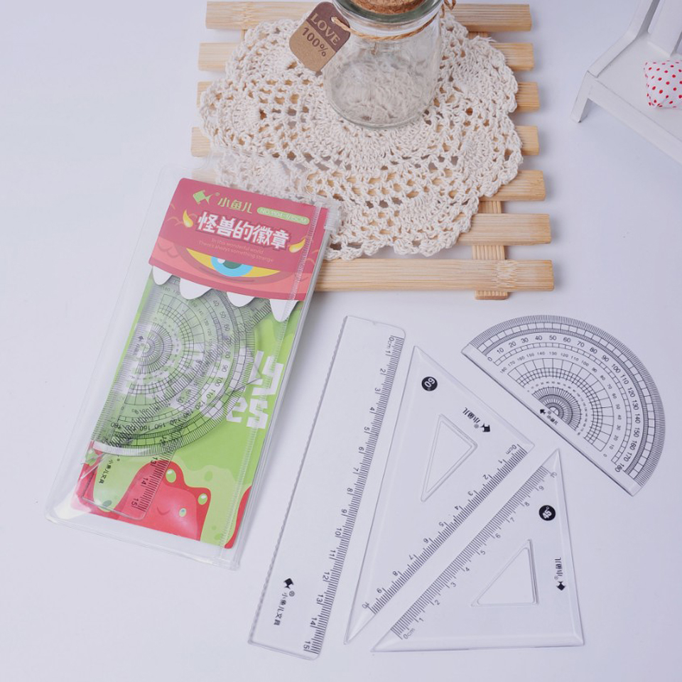 4PCS/Set Hot Sale 15cm Plastic Straightedge Ruler Affordable Students Maths Geometry Stationery Ruler Set Squares Protractor