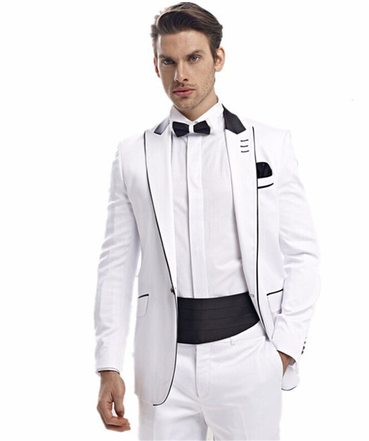f21312edae42 Men Suits White One Buttons Men Fashion Designer Groom Tuxedo Dinner Suit  Blazer Trouser (Jacket+Pants+BowTie+Belt)