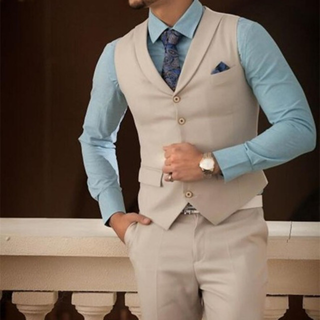 Fashion Simple Casual Custom 2019 Champagne  2 Piece Summer Wedding Suits Slim Fit Groom Wear (Pants+Vest)