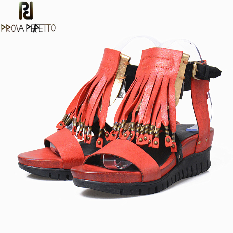 Prova Perfetto Women Genuine Leather Wedge Sandals Metal Rivet Tassels Open Toe Platform Casual Sandal Mixed Color Shoes Female prova perfetto rome style mixed color tassel flowers summer sandals shoes thick heel wedge platform clip toe sandals for women