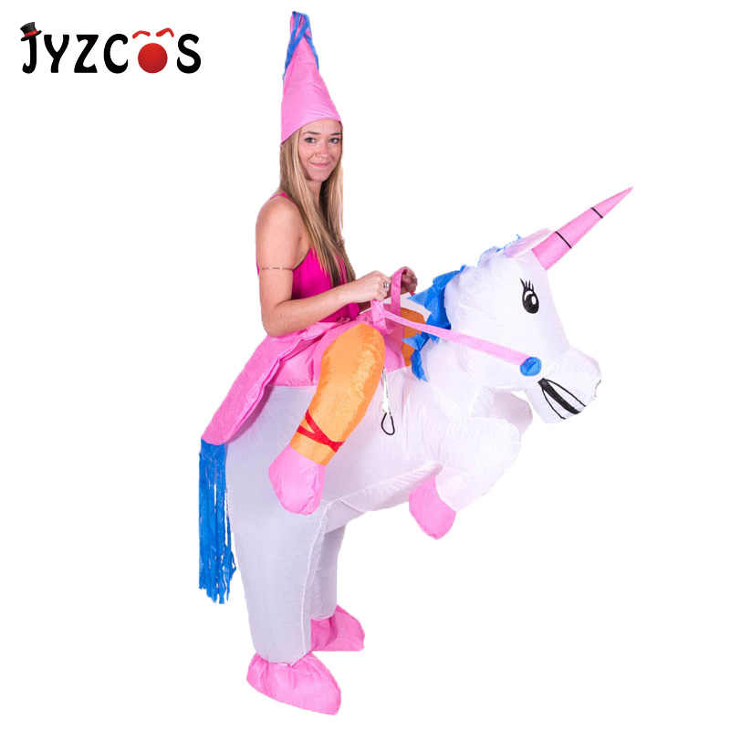 fb0381f36d08d Inflatable Unicorn Costumes Carnaval Princess Outfit Purim Party Fancy Dress  Halloween Costumes for Kids Women Men