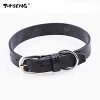 Black Real Leather Dog Collar For Small Medium Large Dogs Unique Broken Pattern Adjustable S L