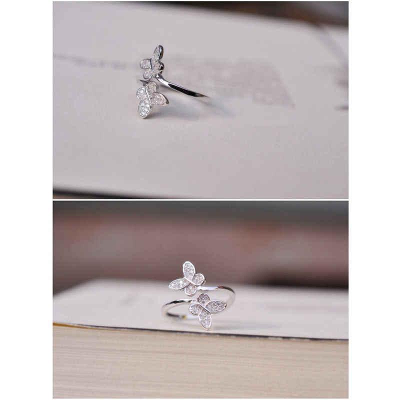Fashion 925 Sterling Silver Terbuka Cincin Adjustable Thumb Jari Butterfly Cincin Wanita Perhiasan