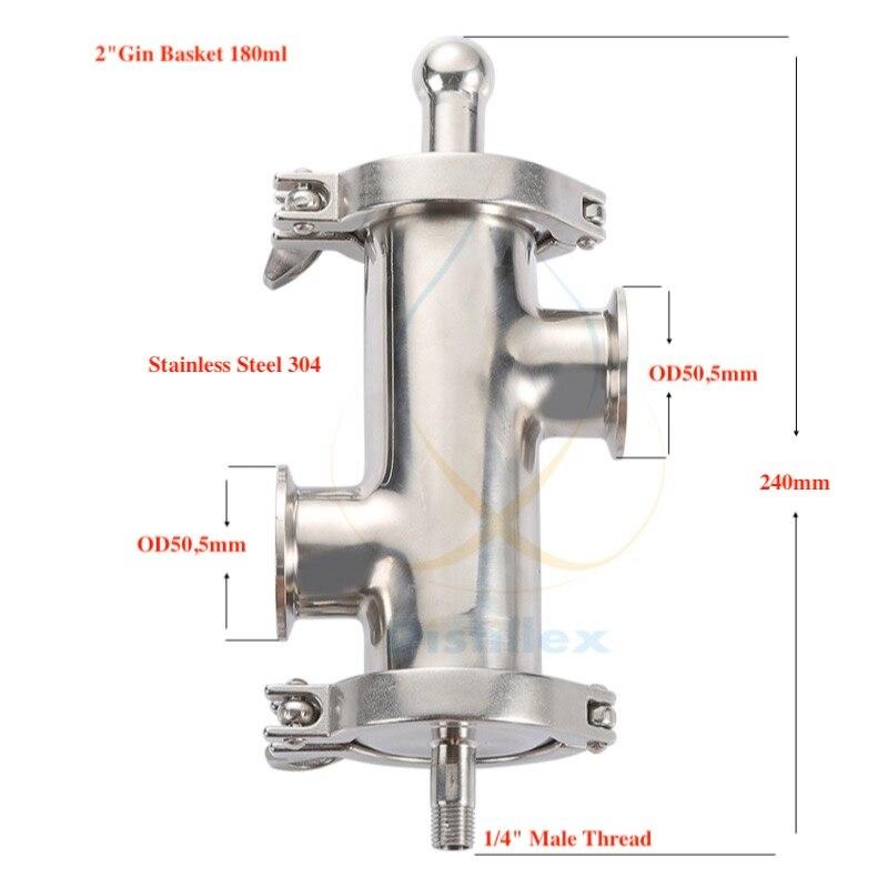 Tri-clamp 2 (OD64mm) Gin Panier, arôme Panier volume 180 ml