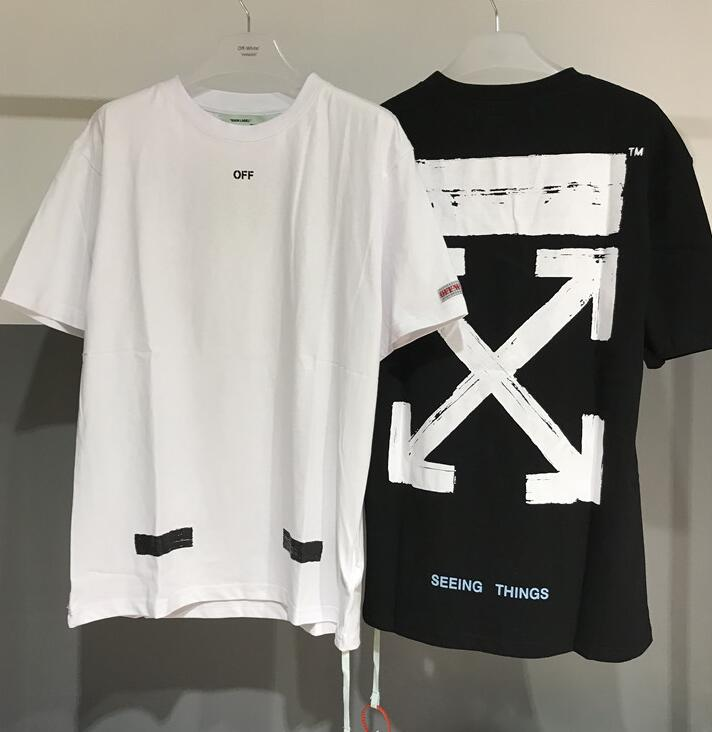 Blanc cassé C/O VIRGIL ABLOH streetwear classique graffiti croquis flèche imprimer lâche hip hop T-shirt à manches courtes hommes T-shirt
