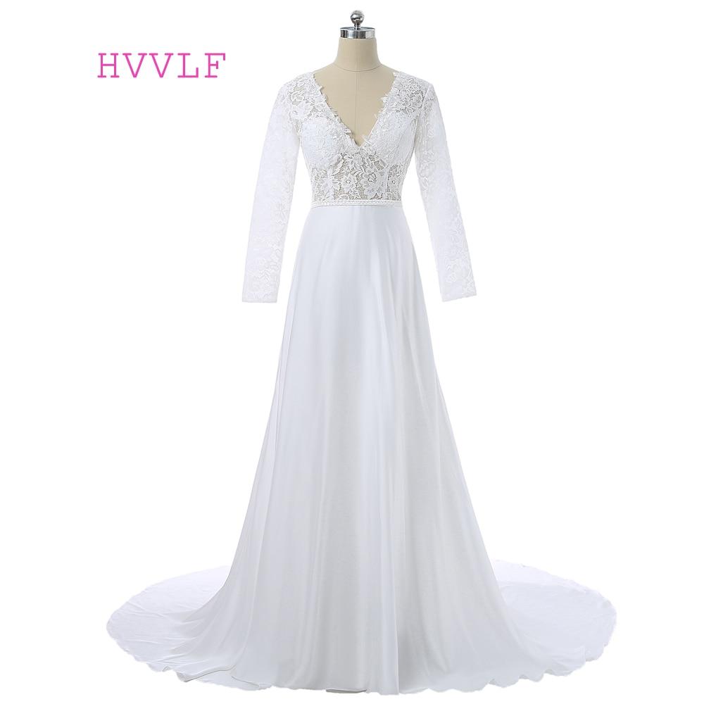 2019 Vestidos De Novia Casamento Robe De A-line Deep V-leher Lengan Panjang Chiffon Lace Wedding Dresses Gaun Perkahwinan Gaun Pengantin