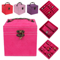 Jewelry Storage Organizer Casket High Quality Pink Rose Red Women Necklaces Earrings Rings Bracelet Leather Box Holder  #91807