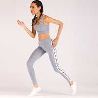 Wholesale Women Yoga Set Sports Bra Top + Pants Gym Running Sport Suit Print Yoga Sets Fitness Pants Breathable Yoga Set