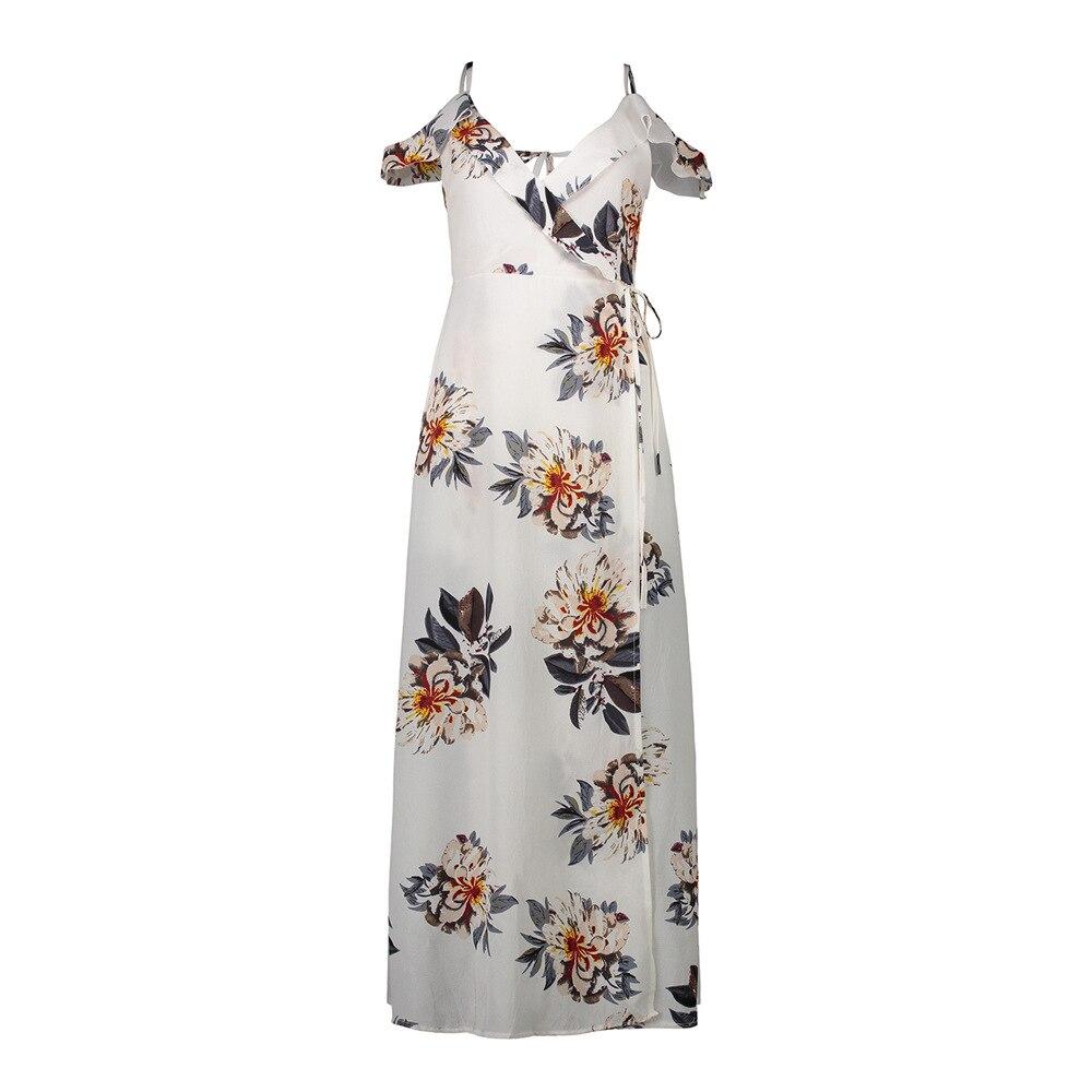 Épaule dénudée plage imprimé robe bord de mer vacances irrégulière Split mousseline de soie robe Sexy haute fente Maxi robe femmes robe élégante - 4