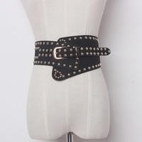 TWOTWINSTYLE Women Punk Ultra Wide Belt Elastic Slim Corset Body Shaper Black Faux Leather Retro Rivet
