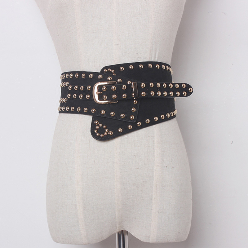 TWOTWINSTYLE Women Punk Ultra Wide Belt Elastic Slim Corset Body Shaper Black Faux Leather Retro Rivet Waist Belt Cummerbund