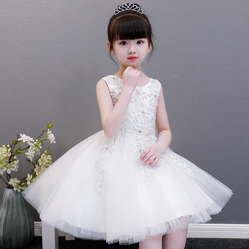 White wedding party dress baby girl short evening ball gowns children princess beautiful first communion birthday ceremony gift