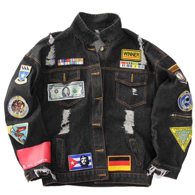 Hommes Cool broderie Badge déchiré Denim veste lâche Dollar allemagne drapeau Patchs Design Jeans Bomber veste manteau effiloché Outwear