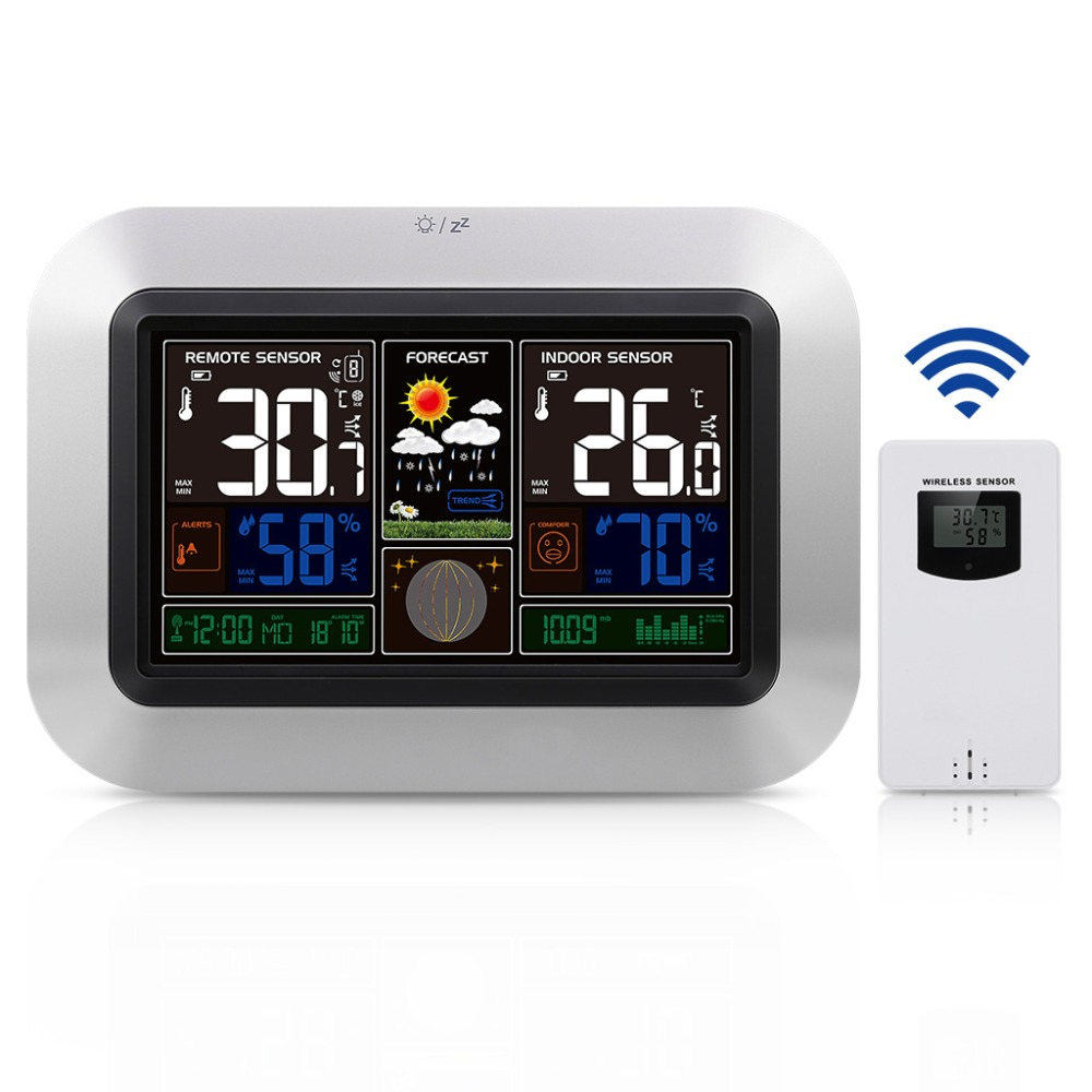 UK Plug Colorful LCD Display Phone Charging DCF RCC Wireless Weather Station