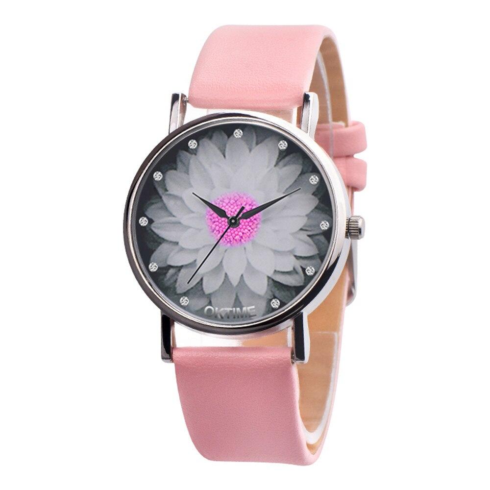 New Fashion Ladies Watch Womens Flower Casual Leather Analog Quartz Wrist Watches Quartz Clock Gifts Relogio Feminino 2020 Q60