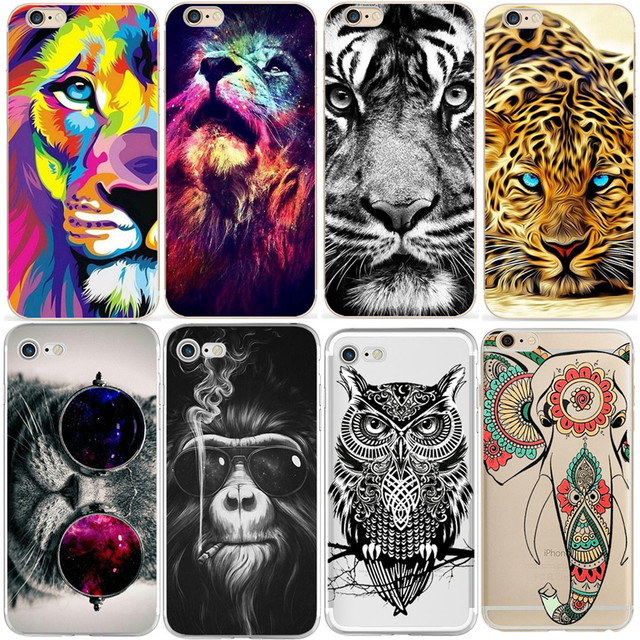 Lion Tiger Case for iPhone XS Max XR X 4 4S 5 5S SE 5C 6 6S 7 8 Plus Coque  Fundas Back Soft TPU For iPhone 7 Plus Case Cover 00bf45c36