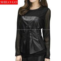 Шило Go уличной моды Для женщин короткие европейские пикантные прозрачные рубашка кожа овчины натуральной юбка дамы шифоновыми оборками ру