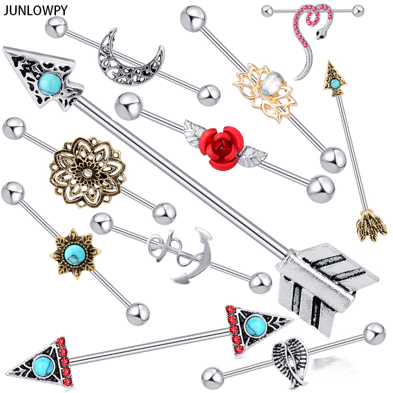 JUNLOWPY 38mm Long barbell Industrial Piercing Ear Cartilage Stud Earring Barbell Straight Ear Piercing Barbell Jewlery 2pcs|Body Jewelry|   - AliExpress