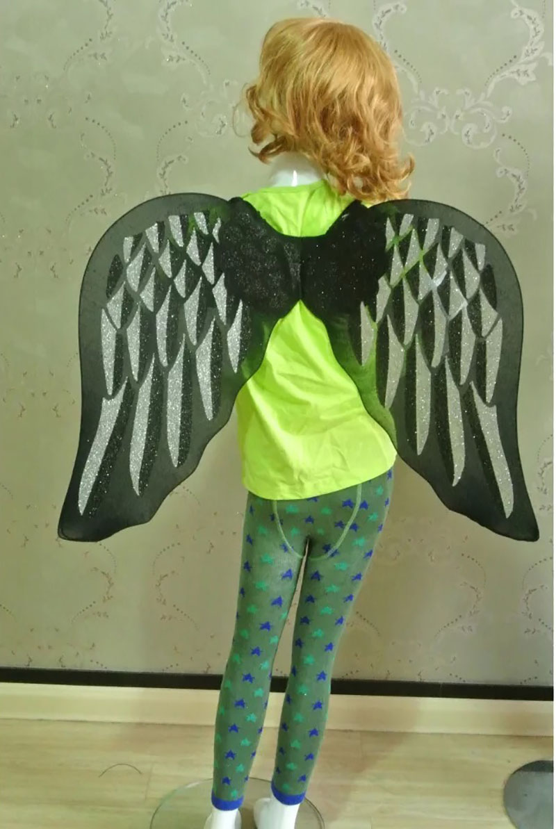 Teens & Kid Girls Fairy Dark Fallen Angel Wing Costume White Black Cosplay Butterfly Open Swing V Shape For Baby Child And Adult