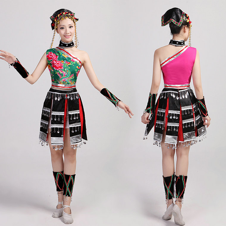 Hmong Clothing Hmong Clothes Stage Performance Costume Hmong Chinese Clothes Hmong Costume Dance Performance Costumes Miao Harmonious Colors Novelty & Special Use Chinese Folk Dance